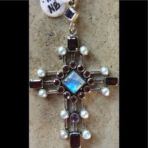 Lg Nicky Butler Designer Sterling Gemstone Cross